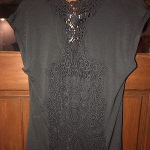 Black shirt with back lace insert